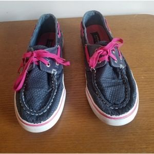 Sperry topsider Bahama navy/pink shoes. Size 3.5.
